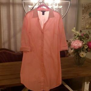 Never Worn Pink Button Up Shirt Dress